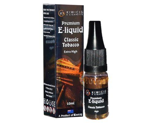10ml classic tobacco e-liquid bottle next to e-liquid box packaging
