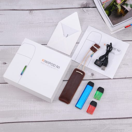 Vape nz KiwiPod N1 Kit containing Blue KiwiPod N1, 2 Colourful Disposable Cartridges, Leather pouch and a charger vape shop auckland