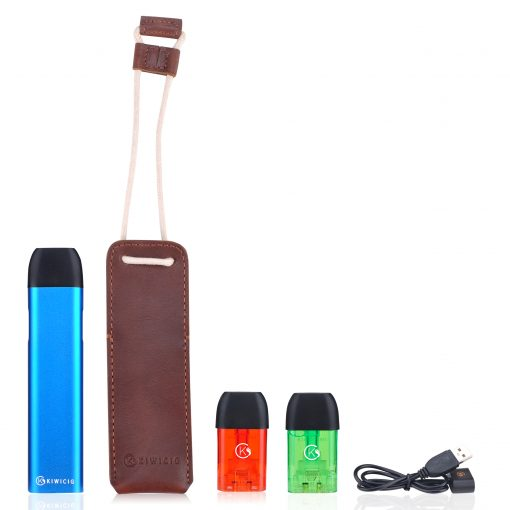 Blue KiwiPod N1 with Leather pouch, Colourful Disposable Cartridges and Charger