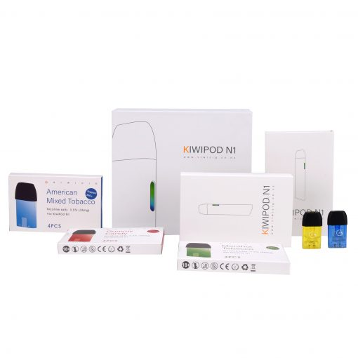 KiwiPod N1 with Colourful Disposable Vape Liquid Cartridges vape accesories includes available at vape shop Auckland and online vape deliveries